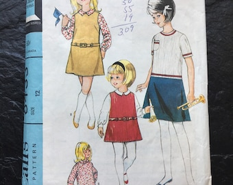 Vintage 1960s Girls' Dress or Jumper and Blouse Pattern // McCall's 8433, size 12 > dropped waist