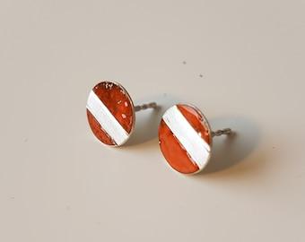 Beautiful handmade enamel earrings made of silver!