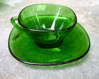 Vintage Green glass Espresso/Demitasse set