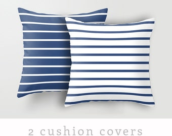 2 Nautical cushion covers. Navy blue and white stripes pillow stripe pillow stripe cushion coastal pillow coastal cushion nautical cushion
