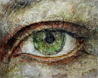 Mixed media collage eye drawing
