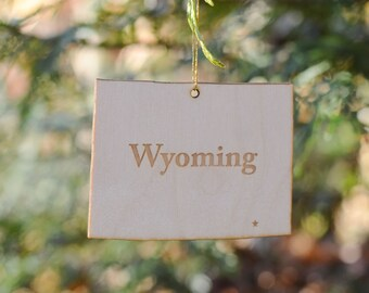 Natural Wood Wyoming State Ornament