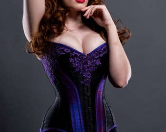 BESPOKE Ophelia overbust corset with Black Lace appliqué