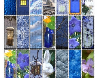 Shades of Blue Collage Sheet 1 x 3 Inch Rectangles for Glass Slides - Digital Download - Printable