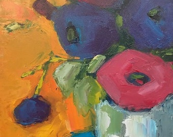 "Original painting ""Big Poppies, Small Vase"""