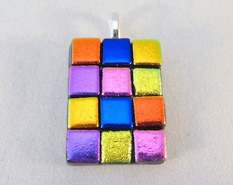 Multi Colored Dichroic Fused Glass Pendant, Colorful, Fused Glass, Fused Glass Pendant, Glass Pendant, Dichroic Pendant, Rainbow Colors