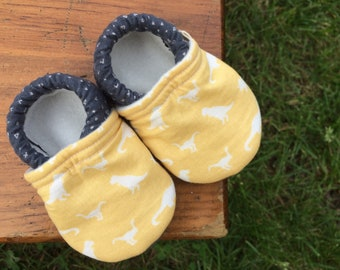 Baby Shoes for Boys or Girls - Yellow Dinosaur Print with Dark Grey Fabric - Custom Sizes 0-24 months 2T-4T