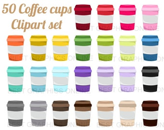 80% OFF SALE 50 Coffee clipart illustration Coffee cup clip art Beverage Clip Art set Rainbow coffee cup clipart Commercial use clipart  KG4