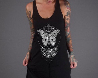 Women's MOTHLIGHT Racerback Jersey Dress Sacred Geometry Pattern Tattoo Style Black Mandala Dress