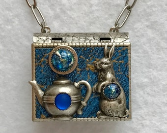 Book Necklace-Rabbit Jewelry-Teapot Jewelry-Blue-Silver-Vintage Style-Pin-Book Locket