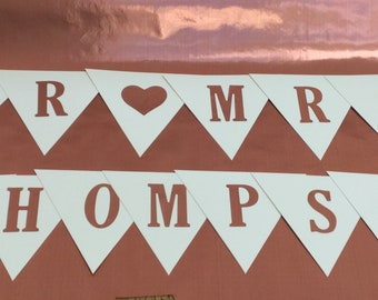 Mr & Mrs personalised Rose gold banner wedding bunting rose gold letters wedding cards suitcase Hand Made in UK