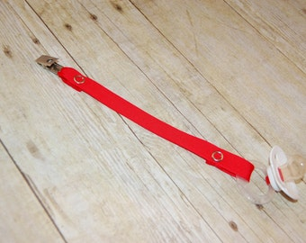 Pacifier Clip, Red, Personalization Available, Ready to Ship