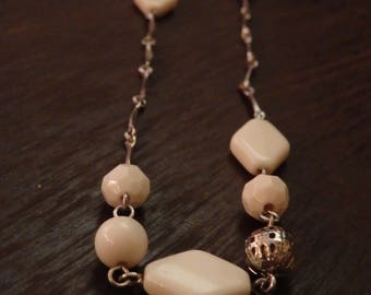 Long Chain With White Bead Necklace