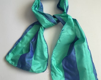 Mommy and Me Scarf - Baby Shower Gifts, Small Silk Scarf, Silk Scarf, Silk Scarves Blue and Green Silk Scarf, Raw Silk Scarves