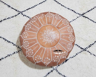 Moroccan Pouf natural Leather pouf, pouf , Floor pouf , moroccan Leather Ottoman pouf,pouf 15