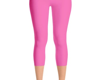 READY TO SHIP - Hot Pink Leggings in Size Large, Yoga Pants for Women, Capris