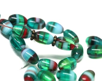Teal Green glass barrel beads Czech glass oval beads Green Red Mixed color 9x6mm - 30pc - 2524