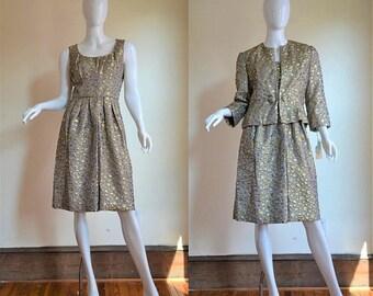 SUMMER SOLSTIC SALE Saks Fifth Avenue Nwt Gold & Silver Metallic Brocade Dress and Jacket Set Circa 1963