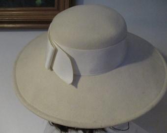 Adolfo II  Women's Hat Wide Brim Off White Wool Felt Vintage Hat