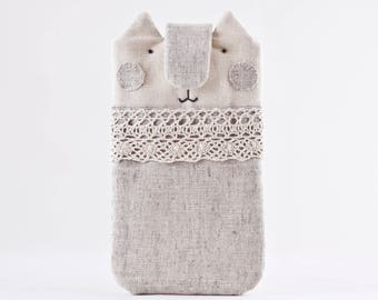 White iPhone X Case, iPhone 8 case, iPhone 7 Plus case, Cat Galaxy S8 case, Cat Lover Gift, linen iPhone 6 Plus sleeve, iPhone 7 case