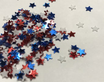Tiny 3 mm red white and blue star confetti / sequins (46)C