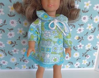 RETRO PRINT DRESS for most slender 7-8in/16-18cm dolls like Amanda Jane, Betsy McCall, Ginny, Lottie, Mini American Girl and Riley Kish
