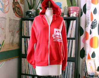 home taping is killing music hoodie . red vintage 70s track jacket with white cassette