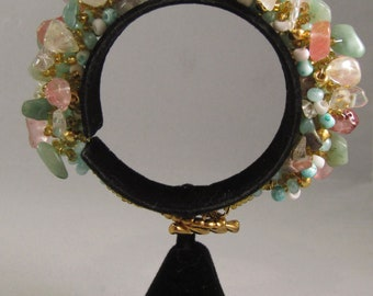 Seafoam and Coral Rock Candy Bracelet