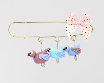 Glass Bird Beads Brooch