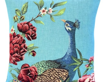 Peacock Pillow Cover - Peacock Lover Gift - Blue Pillow - 18x18 Belgian Tapestry Cushion - Peacock Throw Pillow  - Peacock Decor - PC-5665