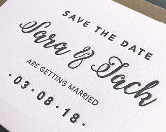 Letterpress save the date: Modern calligraphy, Luxury, Hand printed, Wedding stationery