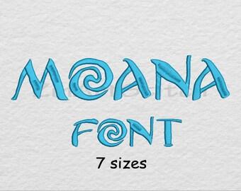 Moana Font Embroidery Design Monogram Alphabet 7 Sizes 8 Formats