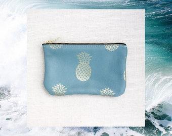 Pineapple Zipper Clutch, Blue Leather Clutch, Blue Zip Wallet, Hawaii Clutch, Hawaii Leather Wallet, Summer Wallet, Hawaii Wallet, Surfer
