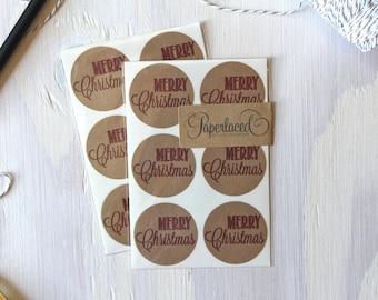 12 Rustic Kraft Merry Christmas Stickers, Kraft Stickers, Envelope Seals, Rustic Stickers, Gift Wrap, Christmas Stickers, Envelope Stickers