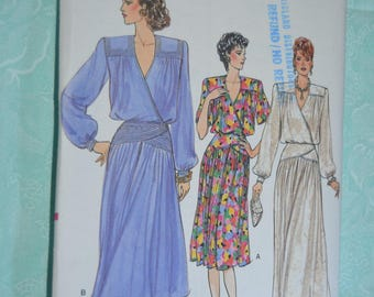 Vogue 9517  Misses Dress Sewing Pattern - UNCUT -  Size 12 - Dress with Blouson Wrap Bodice with Flared Skirt in various lengths