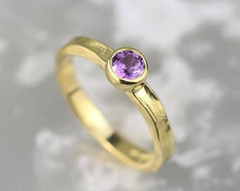 Purple Sapphire Ring | Engagement Ring | Gold Ring | Solitaire Ring | Wedding Ring | Anniversary Gift | Unusual Ring | Alison Moore Designs