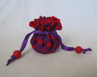 Fabric Jewelry Tote - Mini Size - Jewelry Bag - Drawstring Pouch - RED HAT POLKA