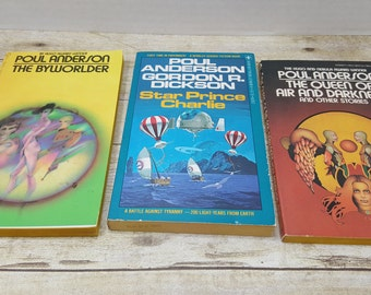 Poul Anderson vintage sci fi collection, The Queen of Darkness and Air, Star Prince Charlie, The Byworlder, 1970s, vintage science fiction