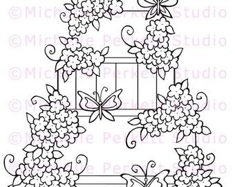 Digital stamp Image birthday wedding cake daisies flowers butterflies whimsical stamping scrapbooking cardmaking