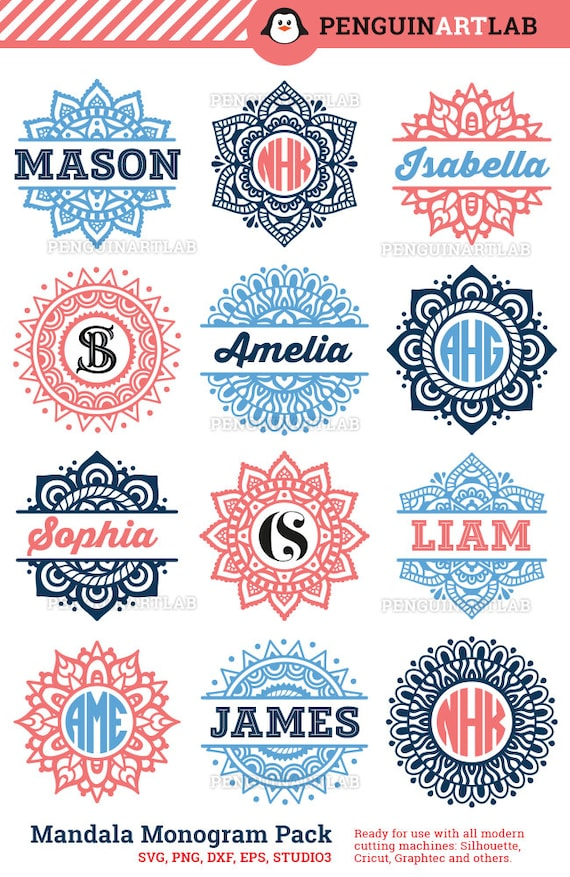 Mandala Pack Monogram And Split Svg Cut Files For Electronic