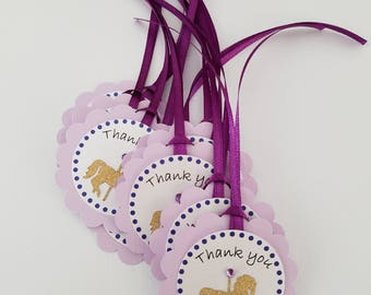 Carousel horse birthday party favor Thank you tags in purple and lavender. Carousel party, baby shower, bridal shower.