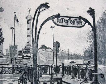 Reduced - Metro Bastille-Paris - Fine Art Etching - One of a Kind - Handpulled
