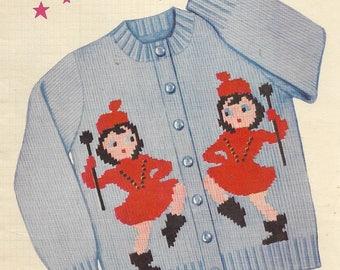 1954 Knitting Pattern - Knit O Graf Vintage Sweater Graph Pattern - DRUM MAJORETTE BATON Twirling - Sizes 6, 8, 10, 12 - Cardigan Jacket