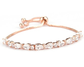 rose gold bracelet, rose gold, wedding jewelry, bridal bracelet, rose gold jewelry, wedding bracelet, crystal bracelet, gold bracelet, bride