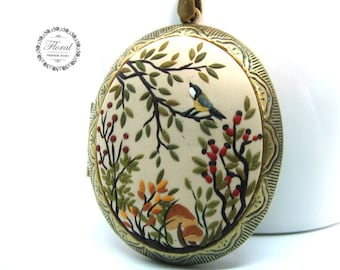 Woodland Necklace / Photo Locket Necklace / Gifts for Nature Lovers / Forest Necklace / Gift for Girlfriend, Picture Locket