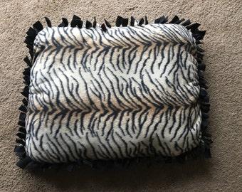 Cat Or Dog Pet / Crate Bed Handmade Tiger Print Fleece 24x18