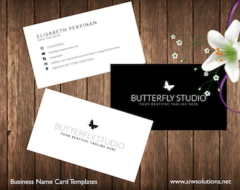 Simple Business Card Template, Name Card Template, Photography name card, elegance business card,minimal business card, black and white card