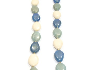 Vintage Blue Green and Cream Beaded Necklace