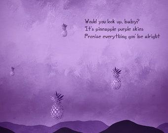 Pineapple Skies | Miguel Inspired Lyric Art Print