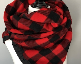 Snap Up Cowl Scarf Red Buffalo Plaid